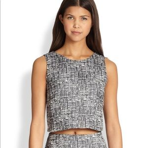 ❤️ Joie cropped tweed textured shell, sleeveless